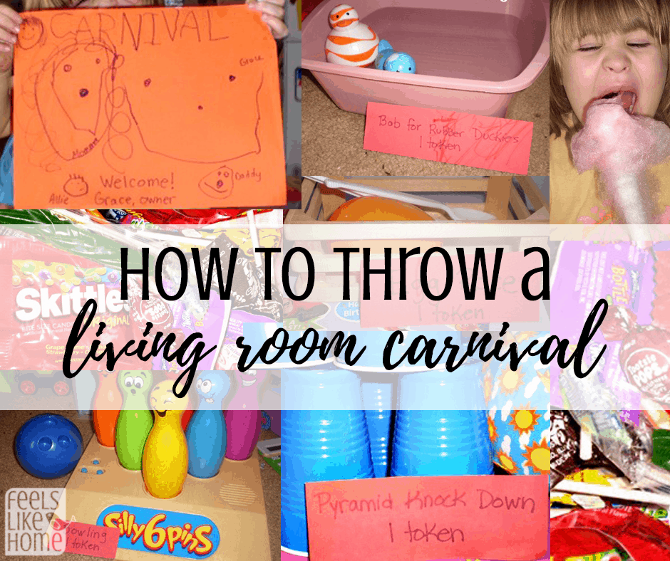 How to throw an indoor living room carnival for your family - Kids love carnivals, and these simple activities and fun games make it easy to have one for your family. Perfect for rainy days. Includes pictures and decorations. Awesome way to spend a day inside.