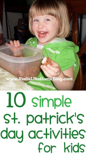St. Patrick's Day Activities for Preschoolers - These 10 simple and easy ideas will help you have a fun St Patricks Day with any kids, from toddlers up to elementary, tweens, even teens! Includes ideas for activities and green drinks and foods.