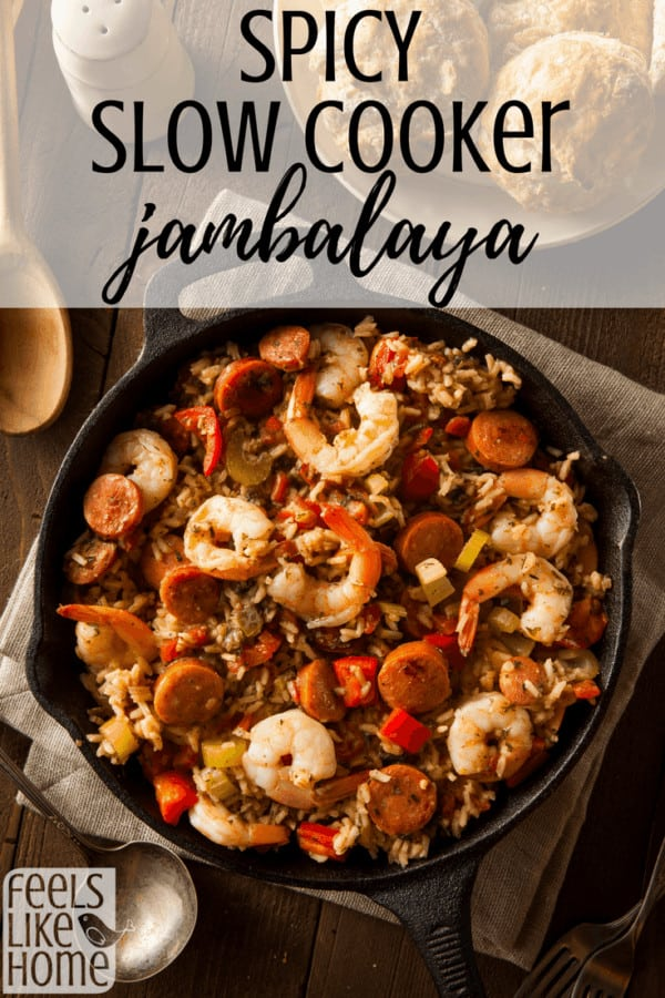 The best spicy slow cooker jambalaya - This simple and easy recipe is super healthy and made in the crockpot. It has chicken, sausage, and shrimp as well as tomatoes, vegetables, and spices including creole seasoning. Can be made with rice or no rice. The soup can be served over pasta or noodles. Low carb family dinner for Mardi Gras or anytime.
