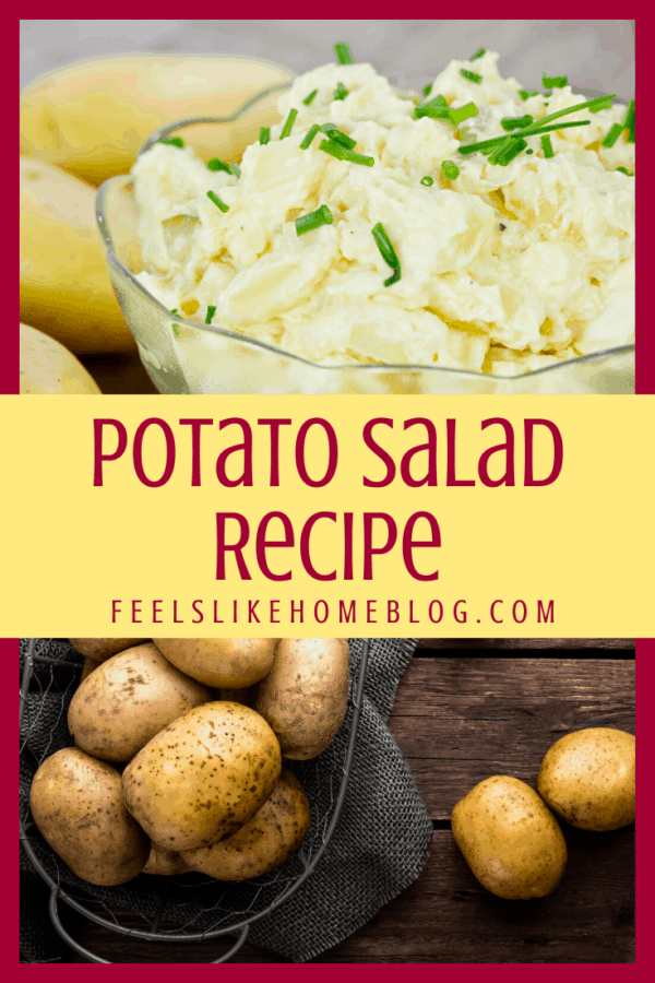 A close up of homemade potato salad with whole potatoes