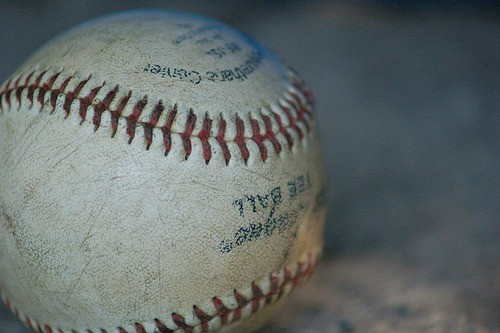 A close up of a baseball