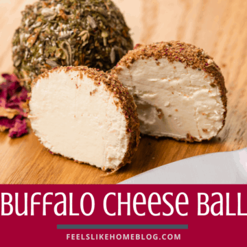 This cheese ball includes all of your favorite flavors - buffalo wings, cheddar cheese, blue cheese, and cream cheese. Yum!