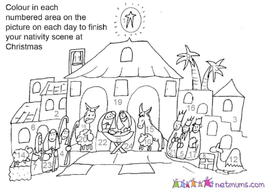 christmas advent calendar coloring pages - photo#17