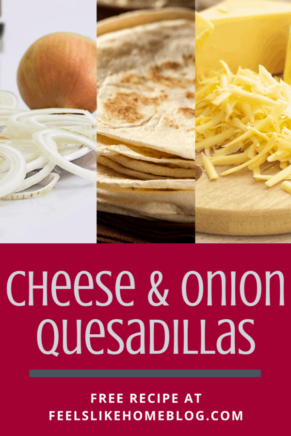 How to make the best cheese and onion quesadillas in a skillet or pan on the stove - This simple and easy recipe is healthy because it's packed with veggies. Great for a vegetarian dinner or lunch. Serve with a little salsa for the perfect snack, too.