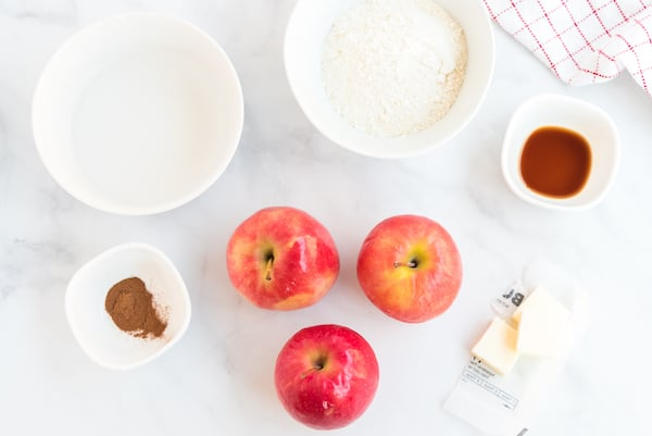 apples, flour, and other pancake ingredients
