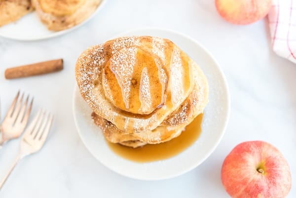 one apple pancake with syrup