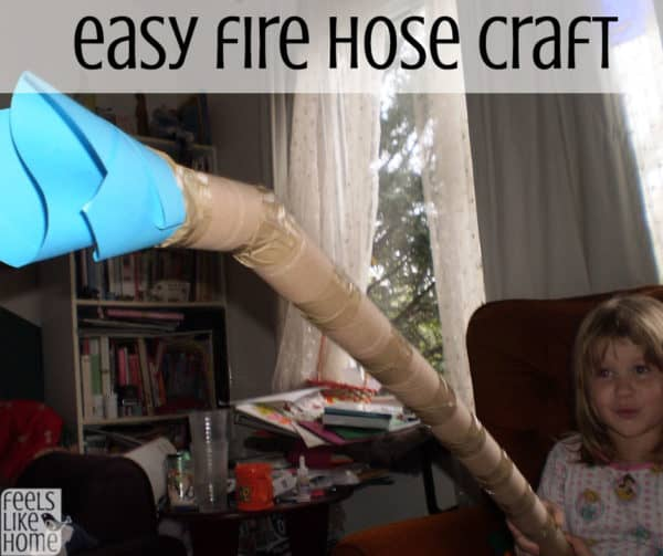 This easy firefighter craft for kids uses toilet paper rolls to make a simple fire hose. Great for preschool or kindergarten for teaching fire safety. Girls and boys will love learning about these community helpers.