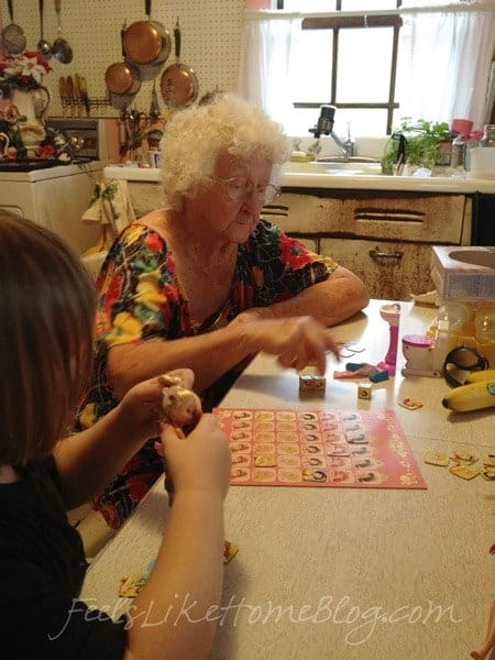 Old Grandma and Grace playing a game