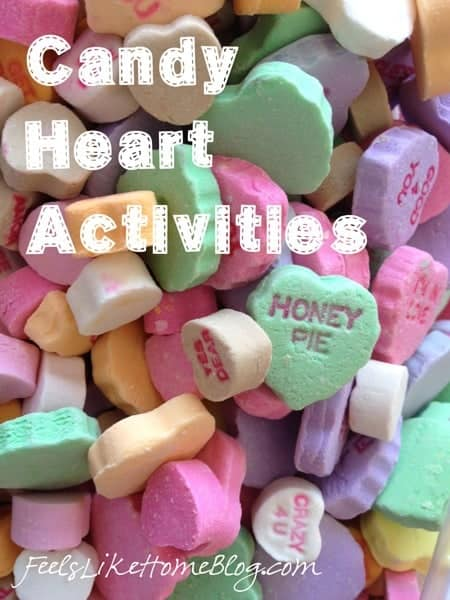 Candy heart learning activities including math, sorting, reading, and writing. Easy candy manipulatives.