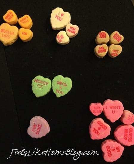 candy hearts activities - sorting