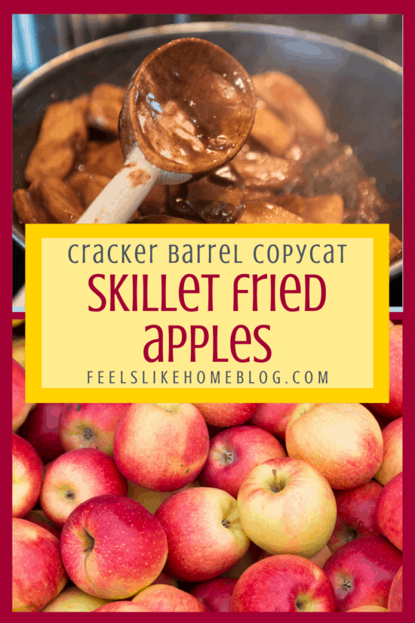 Simple and easy Cracker Barrel pan fried apples - This southern recipe uses cinnamon, butter, and brown sugar to make the best apples, way better than canned. Good for breakfast, brunch, or dessert. Great to top pancakes. Gluten free. Made in a skillet.