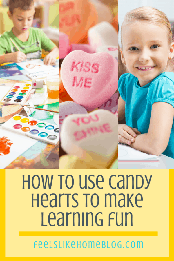 A collage of learning photos with candy hearts
