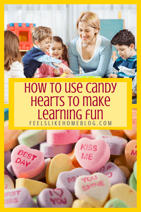 A collage of candy hearts and a homeschool