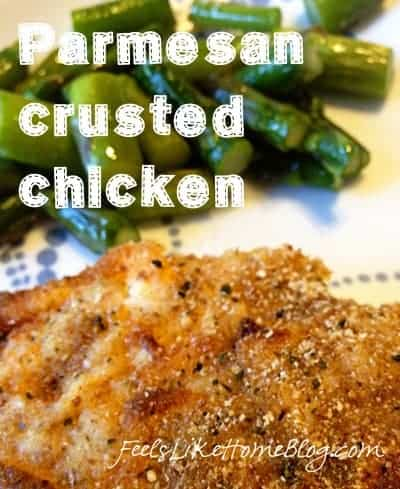 A close up of Parmesan crusted chicken
