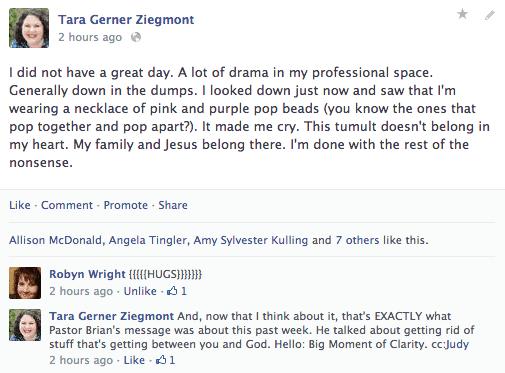 God spoke to me - Facebook status