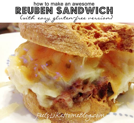 How to Make a Classic Homemade DIY Reuben Sandwich (Gluten-Free Option) - These simple and easy sandwiches are a perfect healthy main dish with corned beef, sauerkraut, and Thousand Island dressing sauce on rye bread.