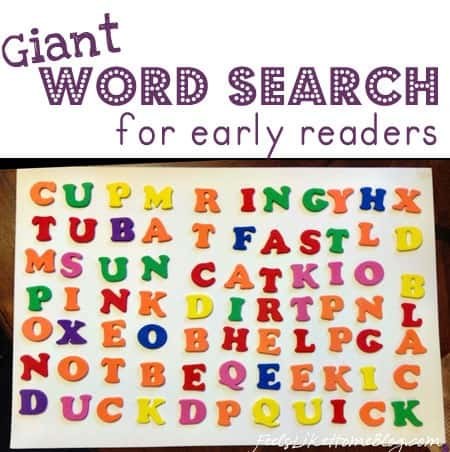 This simple and easy word search for kids. Perfect for early readers in kindergarten or first grade or even preschoolers. Great idea for large letters and letter stickers.