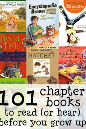 best chapter books for elementary kids or read alouds - This amazing list includes selections for kindergarten, first grade, second grade, third grade, fourth grade, fifth grade, sixth grade and up. Every parent, mom, dad, and teacher will find good and appropriate books here, all curated by a former teacher and homeschool mom who included a summary of each book alongside its name!