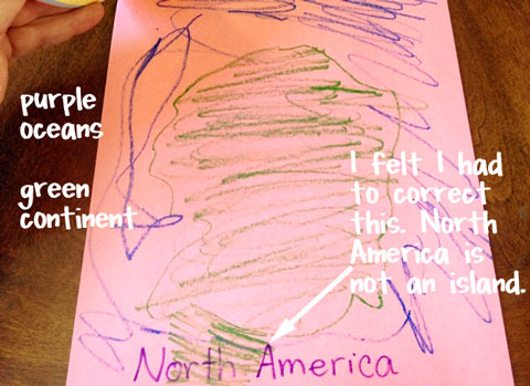 A close up of a little girl\'s drawing of North America