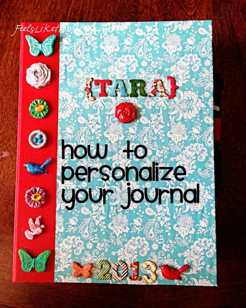 How to make cute and fun Mod Melts crafts - This simple and easy journal is decorated with Mod Melts by Mod Podge. Ideas and pictures of crafts using these cool molds and shapes with a hot glue gun. DIY project. Mixed media journal with paper, ribbon, and Mod Melts.