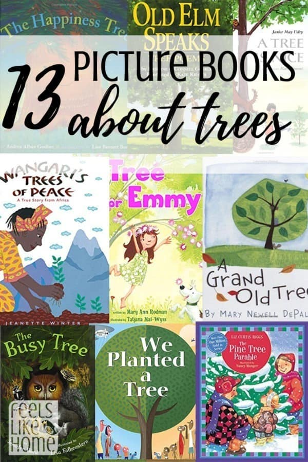 A collage of covers of picture books about trees