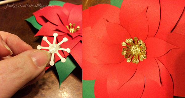A collage of the finished poinsettia