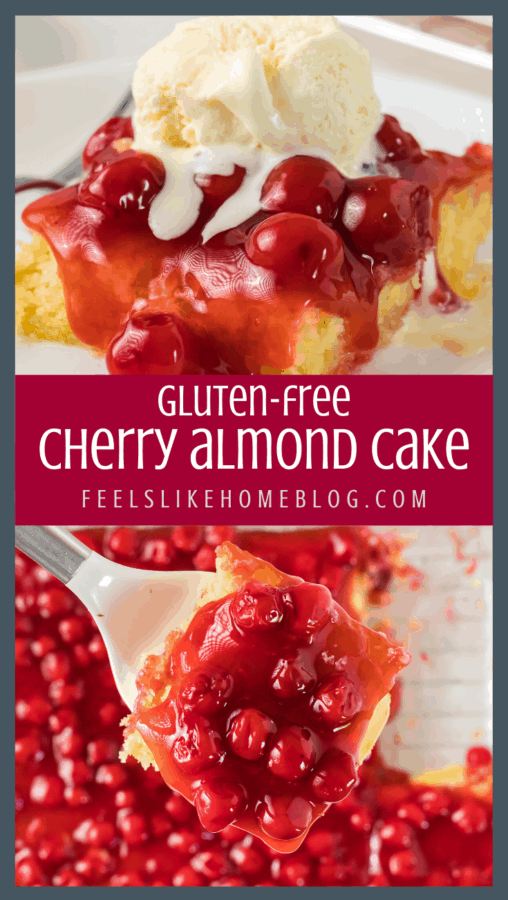 A collage of close ups of cherry almond cake