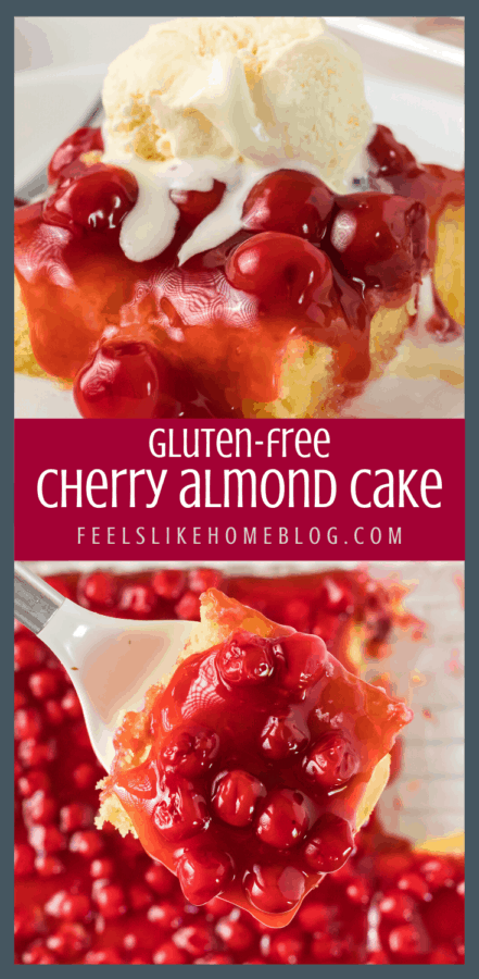 A close up of cherry almond cake