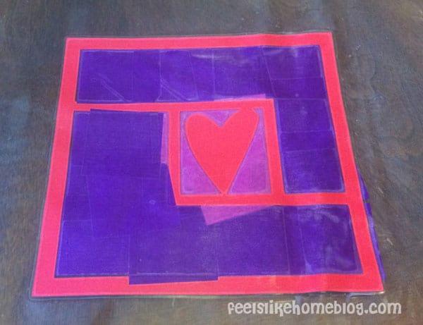 Finished suncatcher - Easy Valentine Suncatcher Crafts for Kids