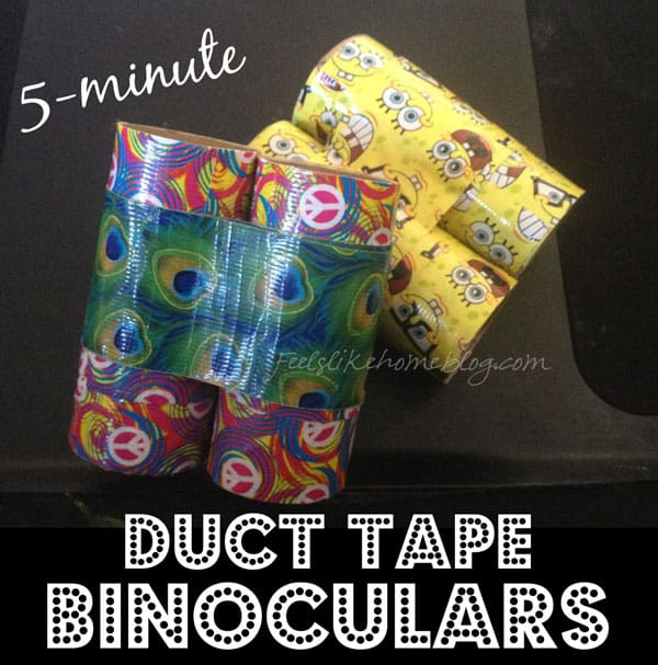 How to Make 5-minute DIY Duct Tape Binoculars Craft Made from Toilet Paper Rolls - This simple and easy craft for kids are fun to make and even better to play with! Great ideas for preschool or toddlers or even kindergarten. Children love cardboard tubes for pretend play, and these homemade binoculars are perfect.