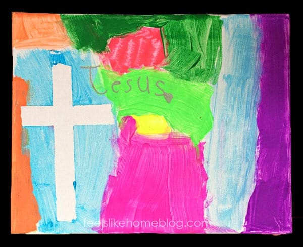 Finished cross resist painting - Jesus