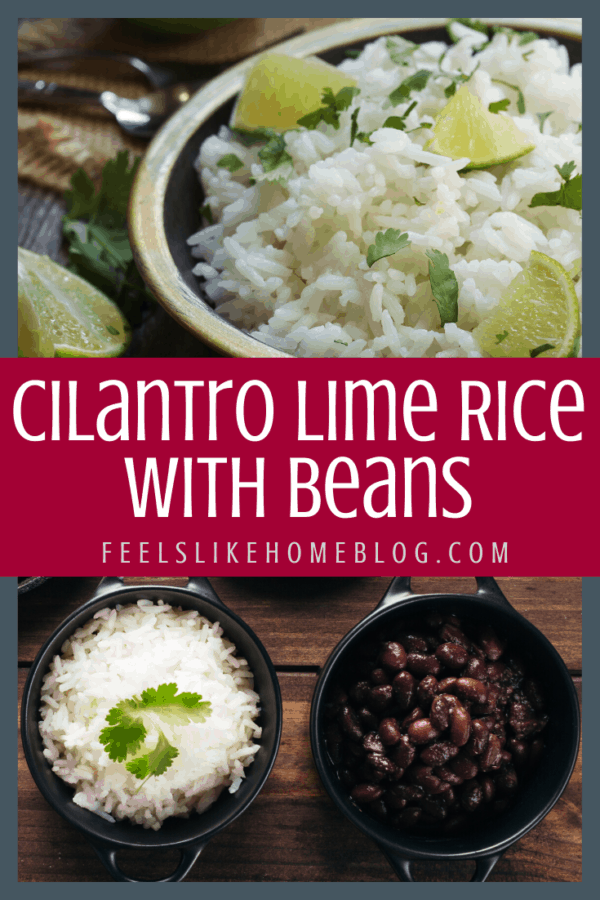 How to make the best cilantro lime rice with black beans, corn, and tomatoes - This simple and easy homemade recipe makes a full meal in one skillet! Quick when you use minute rice and a healthy meatless meal with white or brown rice.