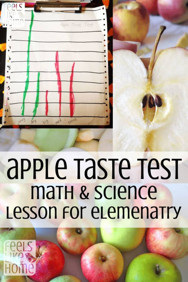 Apple Taste Test Activity - Elementary Math & Science Lesson & Experiments for Kids - Ideas and activities include graphing and recording characteristics. Would be great for preschool, kindergarten, or early elementary children. Includes fun and yummy tips and a recipe for homemade crock pot applesauce to use up the apples when you're done. Great for learning about the scientific method and making charts and graphs. Suitable for home, homeschool, or classroom.
