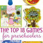 Tips and ideas for the 30+ best simple and easy preschool board, dice, and card games for little kids to play together or with adults, especially since they can't do reading. These games make great gifts to buy and are the perfect addition to any home's game basket. Great to play on Thanksgiving, Christmas, New Year's Eve, or any holiday. Games for young children.