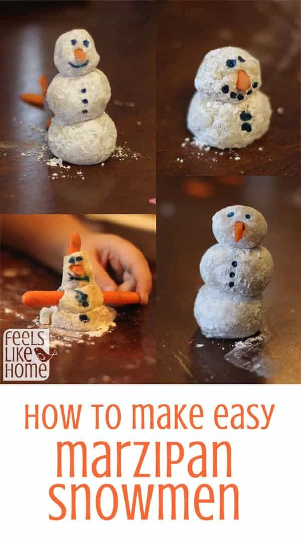 how to make marzipan snowmen - crafts and activities for toddlers, preschoolers, kindergarten, and older kids. Marzipan is easy to work with, and children love to play with the sweet dough!