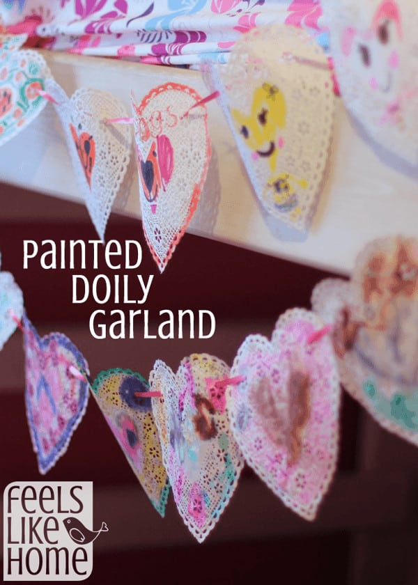 How to Make a DIY Painted Doily Garland for Valentines Day - Lots of ideas for coloring or painting doilies to make a heart bunting. Easy for kids to make at home or at school. Cute, simple, and easy.