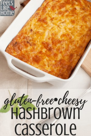 How to make the best cheesy hashbrown cassserole - This simple and easy recipe is perfect for breakfast or brunch, or even for dinner. Gluten-free with a corn flakes topping for a little crunch. Use shredded frozen hash browns for quick prep.
