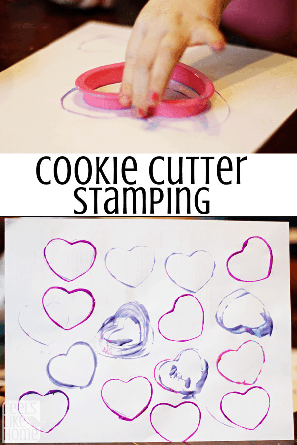 Painting with Cookie Cutters - This is so simple and easy! Plus, it uses barely any paint so there's no mess.