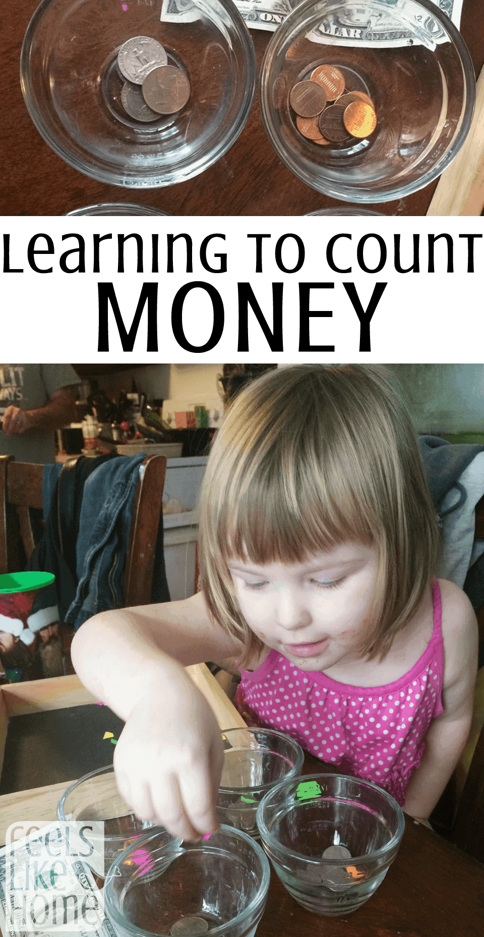A little girl sitting at a table counting money