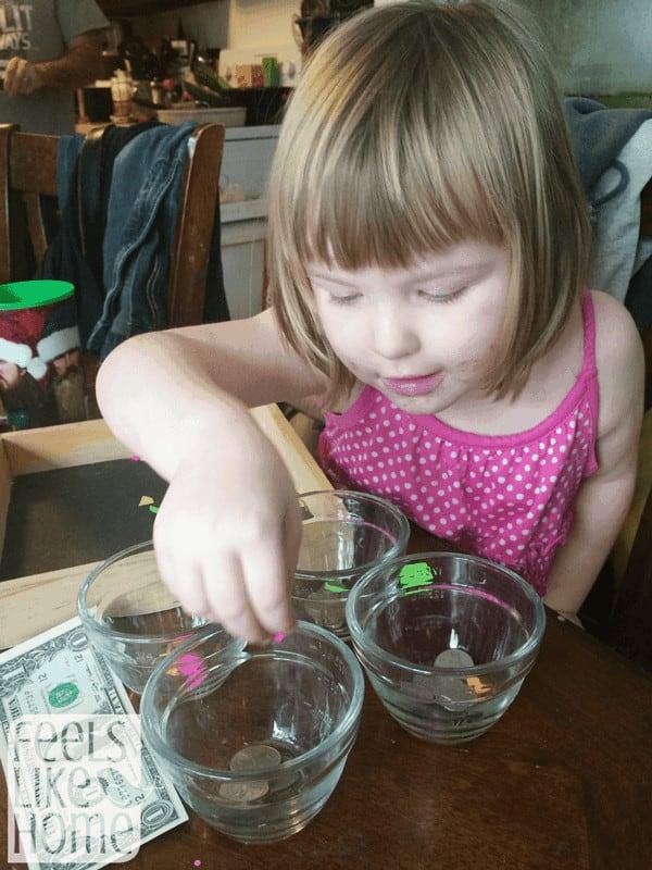 preschool activity to sort money