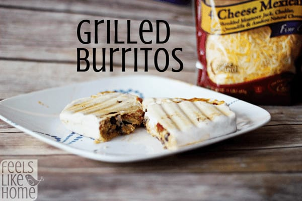How to make the best grilled burritos recipe ever! Stuffed with Mexican chicken, BBQ sauce, couscous or rice, Sargento cheese, feta, Greek yogurt or sour cream, and salsa - These are so delicious and make the best lunch and dinners! Could use a low carb or gluten-free tortilla.