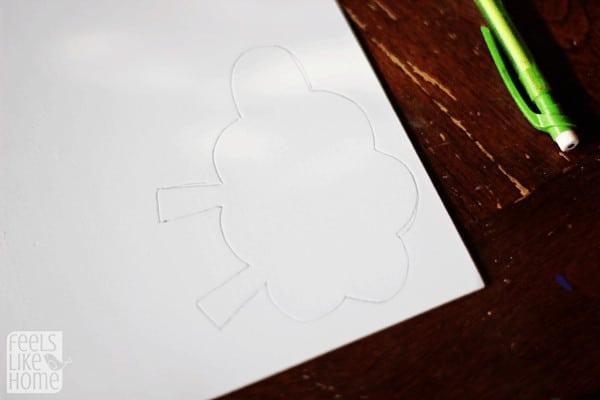 A close up of a sheep drawing