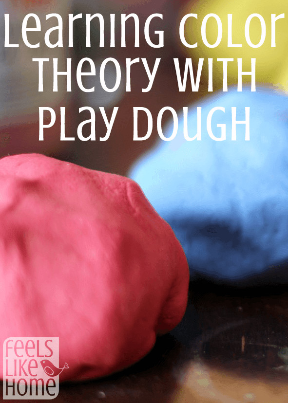 Homemade play dough in red, blue, and yellow