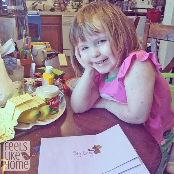 Preschool activity writing letters