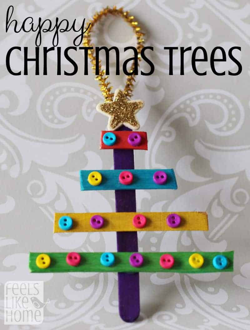 Popsicle stick christmas trees feels like home for Christmas crafts for pre schoolers