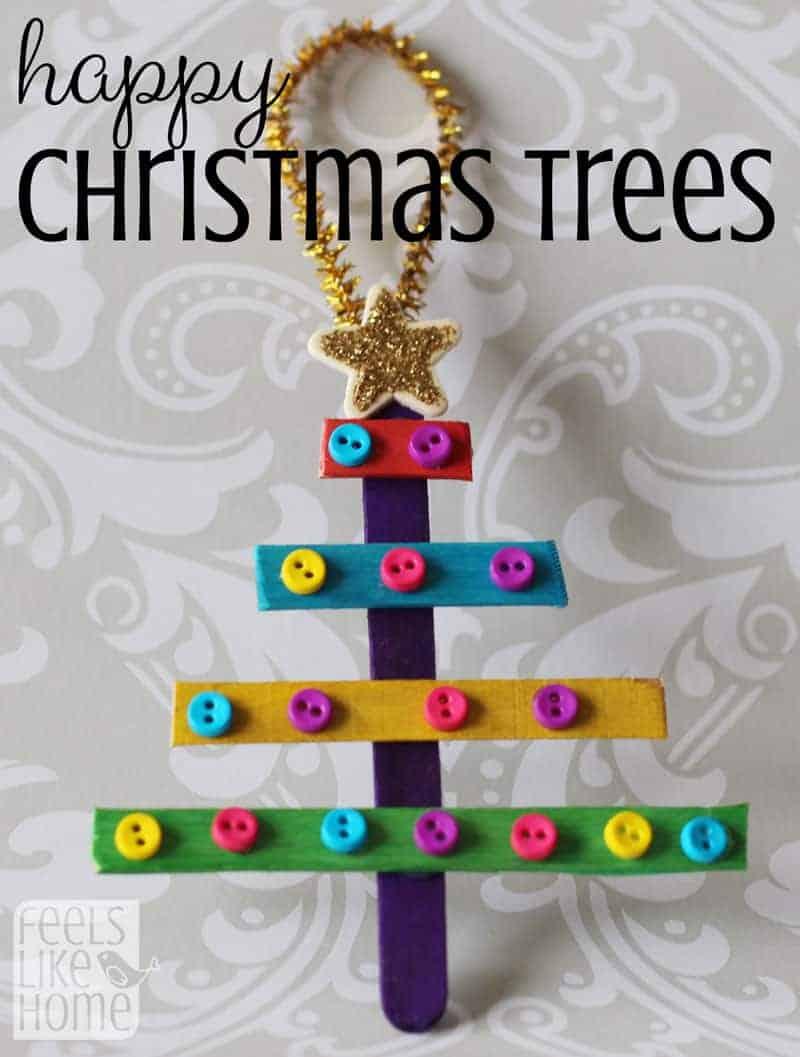 Preschool Christmas ornaments - Popsicle Stick Christmas Trees