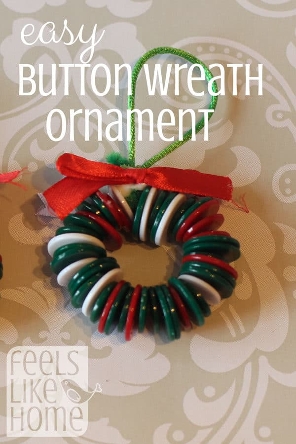 This fun DIY button Christmas ornament craft is super simple & easy, and the results are always great! Your 3 and 4 year old preschoolers will love making these cute little wreath ornaments for their Christmas trees, but they're awesome for kindergarten, older kids, and even teens! Learn how to make these holiday wreath crafts.