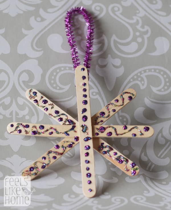 Snowflake made of popsicle sticks
