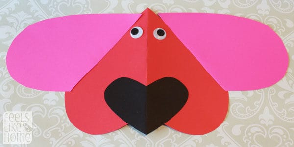 Valentine's Day heart-shaped animal crafts for kids dog