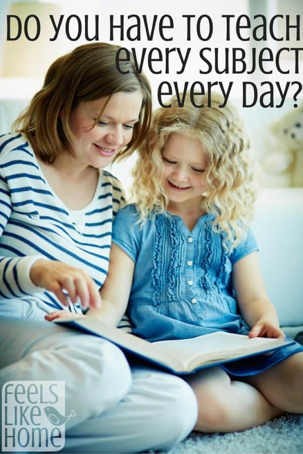 Do homeschoolers have to teach every subject every day? The answer for our kids is very cut and dry. Homeschool tips, tricks, & ideas to make your days go much smoother.